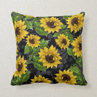 Vintage sunflower pattern throw pillow