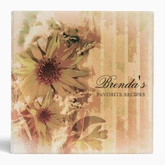 Vintage Sunflower Recipe Binder/ Cookbook Binder