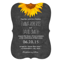 Vintage Sunflower Rustic Chalkboard Wedding Card