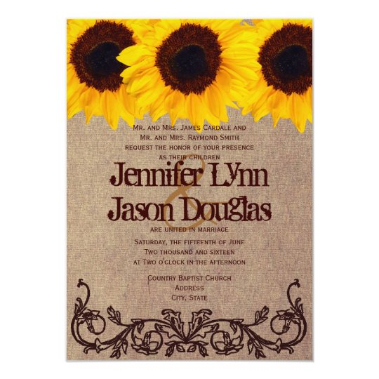 Wedding Invitations In Maryland: Vintage Sunflower Rustic Wedding Invitations