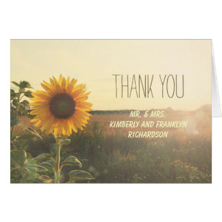 Vintage Sunflower Rustic Wedding Thank You Card