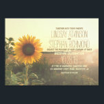 "Vintage sunflower wedding invitations<br><div class=""desc"">Romantic and rustic wedding invitation with the blooming sunflowers. Perfect invite for vintage wedding,  summer,  fall wedding themes and for rustic country barn wedding. -- All design elements created by Jinaiji</div>"