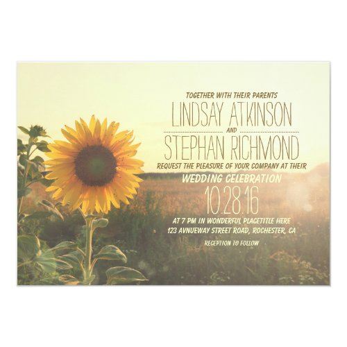 Vintage sunflower wedding invitations