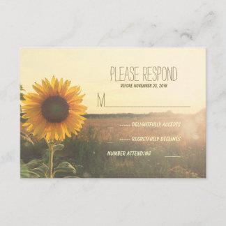 vintage sunflower wedding RSVP cards