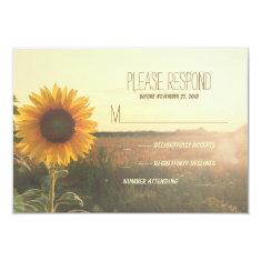 vintage sunflower wedding RSVP cards Announcement