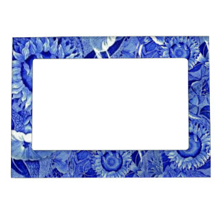 Vintage Sunflowers Blue Transferware China Pattern Picture Frame Magnets