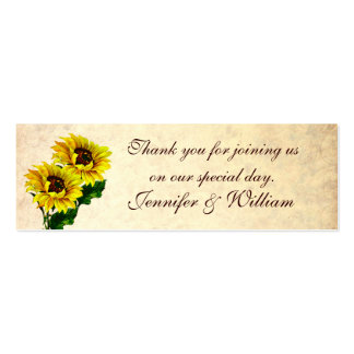 Vintage Sunflowers Custom Wedding Favor Tags Double-Sided Mini Business Cards (Pack Of 20)