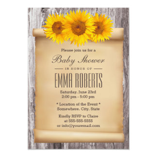 Vintage Sunflowers Old Scroll Wood Baby Shower Card