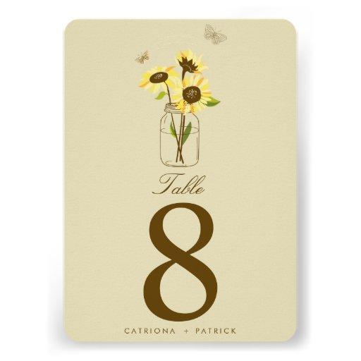 Vintage Sunflowers on Mason Jar Table Numbers Card