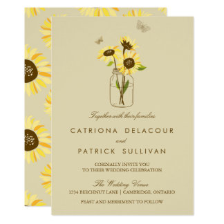 Vintage Sunflowers on Mason Jar Wedding Invitation