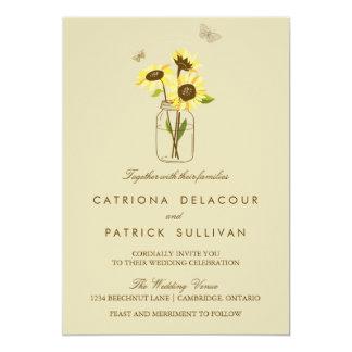 Vintage Sunflowers on Mason Jar Wedding Invitation
