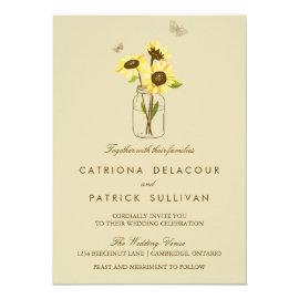 Vintage Sunflowers on Mason Jar Wedding Invitation 5