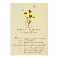 Vintage Sunflowers on Mason Jar Wedding RSVP Card (<em>$1.80</em>)