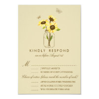 Vintage Sunflowers on Mason Jar Wedding RSVP Card (<em>$1.80</em>)