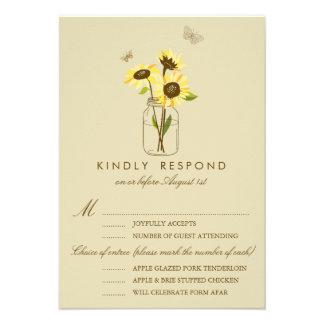 Vintage Sunflowers on Mason Jar Wedding RSVP Card