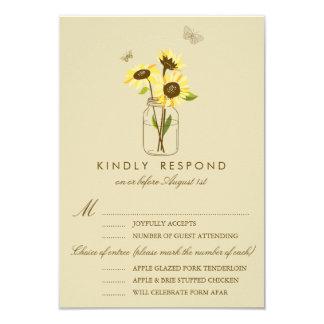 """Vintage Sunflowers on Mason Jar Wedding RSVP Card 3.5"""" X 5"""" Invitation Card"""