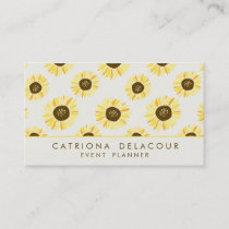 Vintage Sunflowers Pattern Business Card