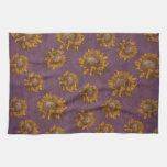 Vintage Sunflowers Plum Purple Rustic Sunflower Towel