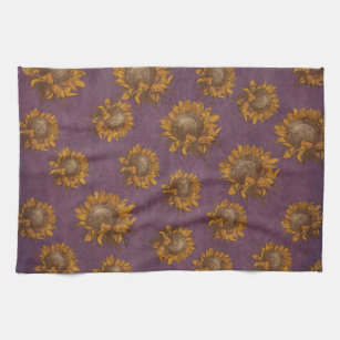 Vintage Sunflowers Plum Purple Rustic Sunflower Kitchen Towel