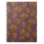 Vintage Sunflowers Plum Purple Rustic Sunflower Spiral Notebooks