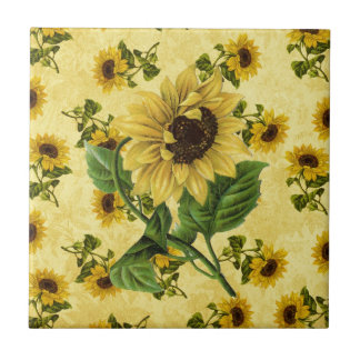 Vintage Sunflowers Small Square Tile