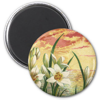 Vintage Sunrise Easter Lilies and Victorian Angels 2 Inch Round Magnet
