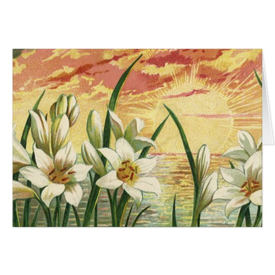 Vintage Sunrise Easter Lilies and Victorian Angels Card