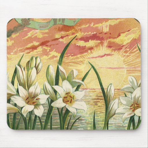 Vintage Sunrise Easter Lilies and Victorian Angels Mouse Pad