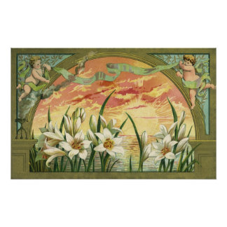 Vintage Sunrise Easter Lilies and Victorian Angels Poster
