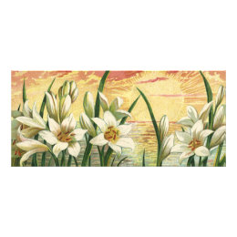 Vintage Sunrise Easter Lilies and Victorian Angels Rack Card
