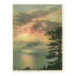 vintage, reproduction, postcard, sunset, mackinac