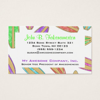 Vintage Surfboards - Bamboo and Hibiscus Business Card