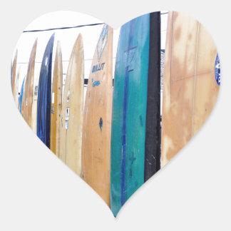 Vintage Surfboards on Montauk Beach Heart Sticker