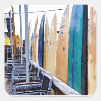 Vintage Surfboards on Montauk Beach Square Sticker