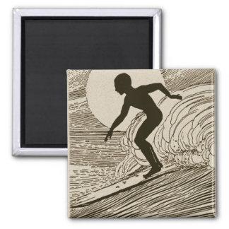 Vintage Surfing 2 Inch Square Magnet