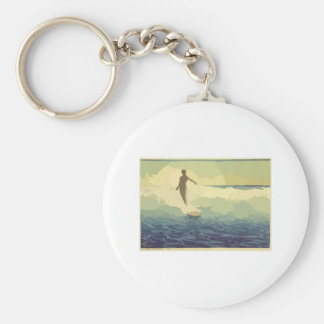 Vintage Surfing Basic Round Button Keychain