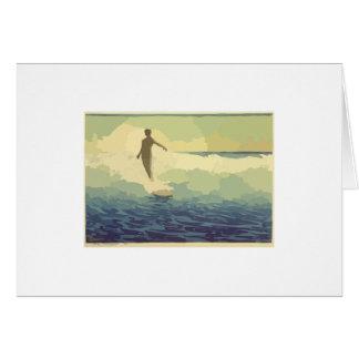 Vintage Surfing Greeting Card