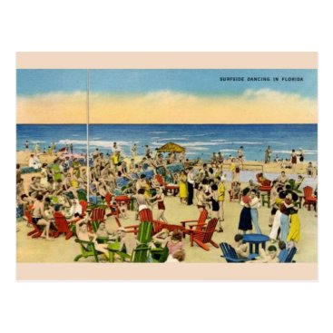 Beach Themed Vintage Surfside Dancing in Florida Post Card
