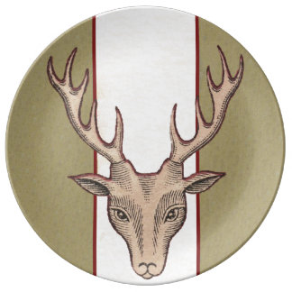 Vintage Surreal Deer Head Antlers Dinner Plate
