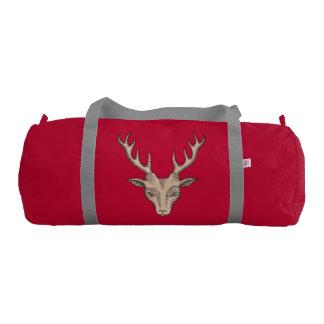 Vintage Surreal Deer Head Antlers Duffle Bag