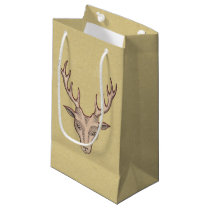 Vintage Surreal Deer Head Antlers Small Gift Bag