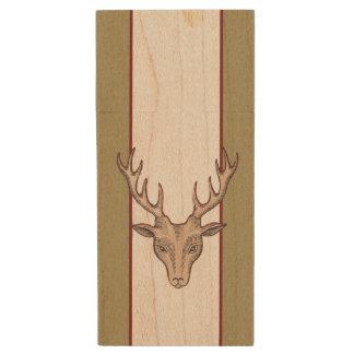 Vintage Surreal Deer Head Antlers Wood USB Flash Drive