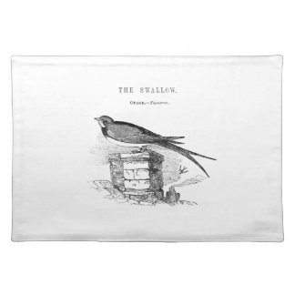 Vintage swallow bird cloth placemat