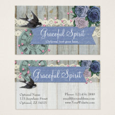 Vintage Swallow Bird Cobalt Blue Shabby Chic Craft Business Card at Zazzle