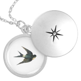 Vintage Swallow Bird Illustration Locket Necklace