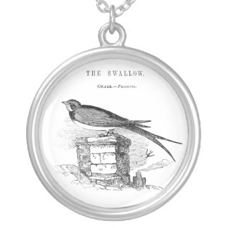 Vintage swallow bird silver plated necklace