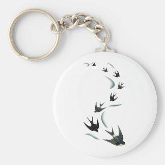 Vintage Swallow Birds Art Keychain