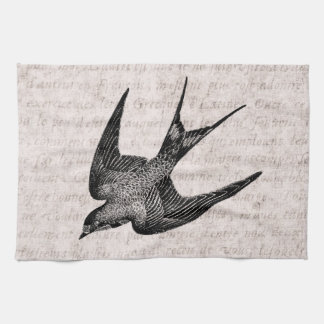 Vintage Swallow Illustration -1800's Antique Bird Towel