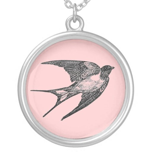 Vintage Swallow necklace (pink)