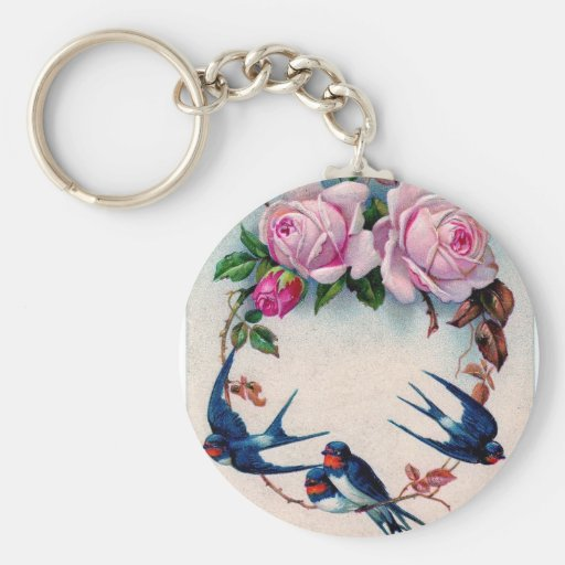 vintage swallows and roses on cyan basic round button keychain